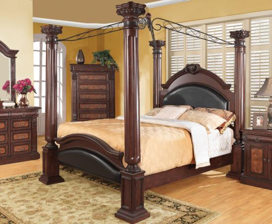 padded headboard, traditional bed, tall headboard, stylish design, canopy bed