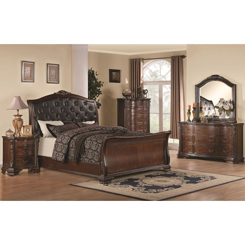 traditional bed, sleigh bed, elegant bedroom set, cherry wood