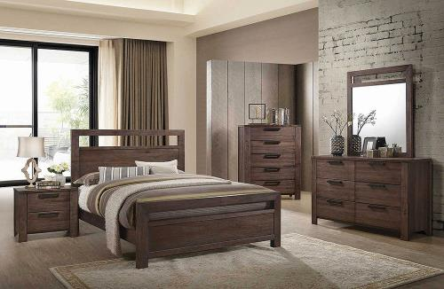 caila bedroom set, pine wood, rustic ale finish, deep drawers, simple design