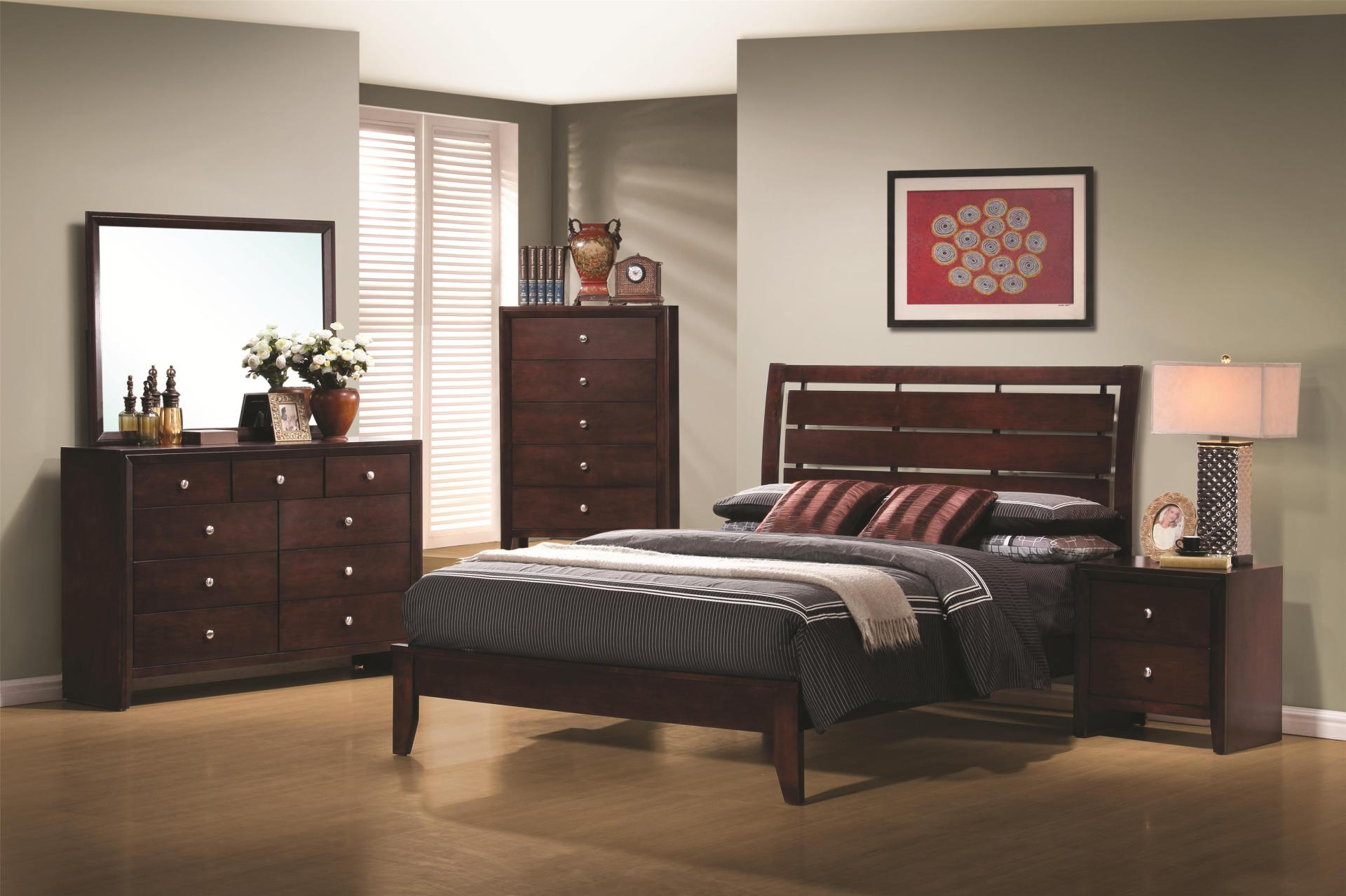 serenity bedroom set, warm brown finish, slatted headboard, open foot board, dove tailed drawers