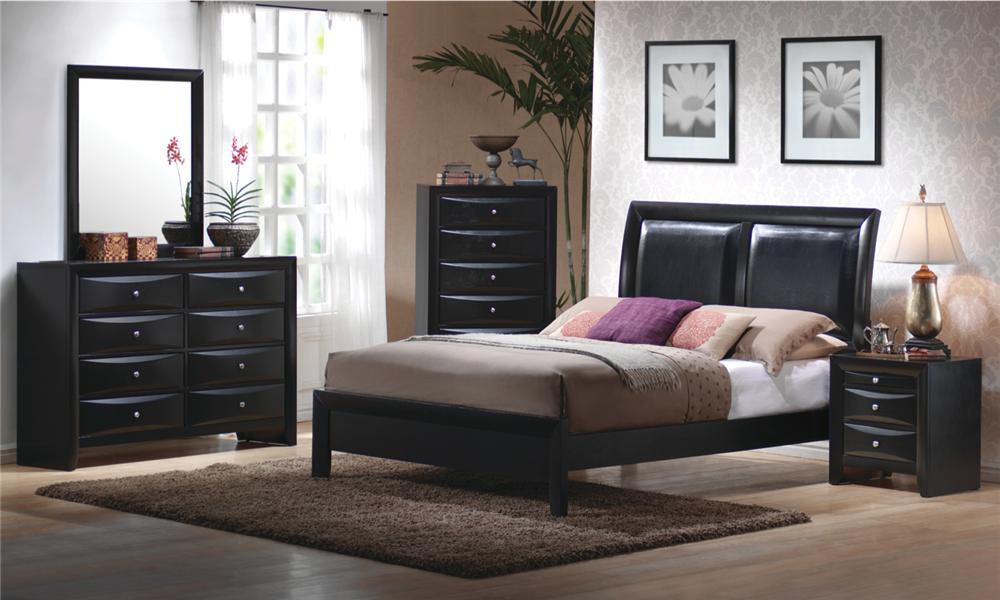 briana bedroom set, black finish, modern style with leather padded headboard