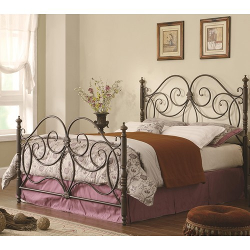 wrought iron headboard and foot board, rails, dark bronze finish, beautiful scrollwork with small flower accent