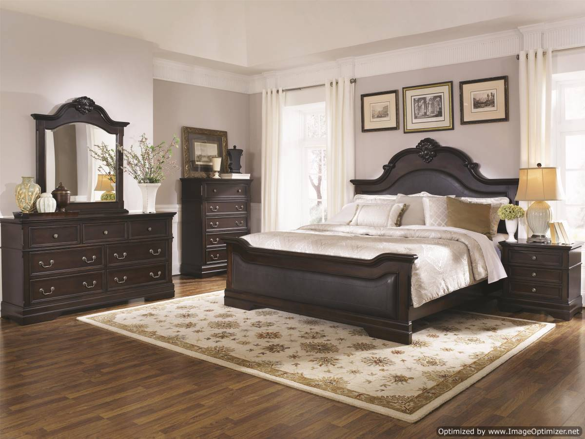 cambridge bedroom set, traditional bedroom, dark cappuccino, carved shell accents