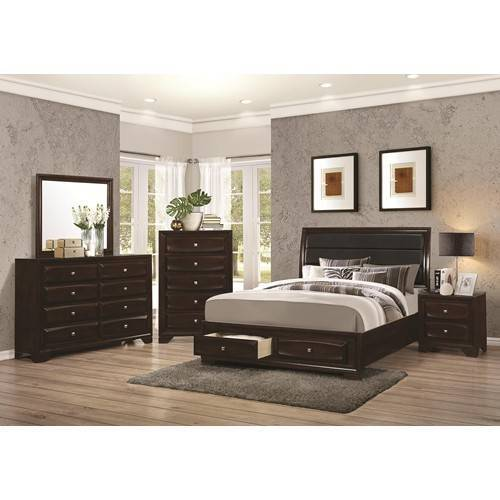 platform storage bed, dark cappuccino finish, dove tailed drawers, padded leather headboard accent