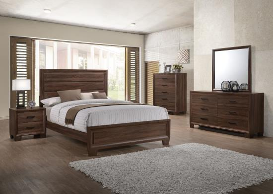 promotional bedroom set, low price, great value, dove tailed drawers, rustic warm brown finish